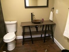 Custom vanity with trestle legs works beutiful in this bathroom.  An old gold pan transformed into a vessel sink create just the right mix of old, new, rustic and sleek.  By Ginger Hawk Customs Sink, Vessel Sink, Custom Creations, Trestle Legs, Trestles, Guest Bath, Custom Vanity