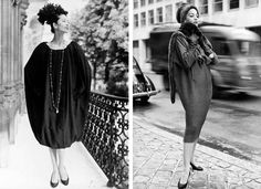 """Givenchy debuted his shapeless """"Sack"""" dress in 1957, the same year that Balenciaga presented a similar silhouette. The design evolved out of the """"Shirt Dress"""" featured at left and was largely copied by manufactures, signifying a shift away from the highly-structured silhouettes that dominated 1950s fashion. Image via Givenchy.com"""
