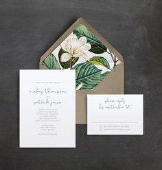 Minimal Script Wedding Invitation Suite   Vintage Floral Liner   Simple Wedding Invitation   Handwriting   Script Typeface
