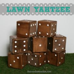Lawn Yahtzee | The Wood Connection Blog ... This is one of their better projects, since they are kind of getting desperate lately... (Wooden plaques that hold bibs?? And towel racks upon towel racks upon towel racks? ...Come on...)
