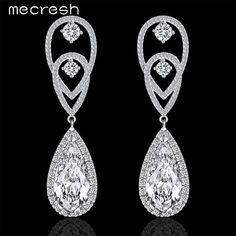 Mecresh Water Drop Dangle Long Earrings for Women With Top Cubic Zirconia Bridal Pendientes Wedding Jewelry MEH772