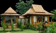 Thai Modern HomeSpecifications: Thai Modern Home is Thai teak instant knock down house. It can be built within 15 days. Using teak wood as the primary material for the house. The house ca Rest House, Tiny House Cabin, House With Porch, House In The Woods, Thai House, Style At Home, Cabana, Minimal House Design, Beautiful Modern Homes