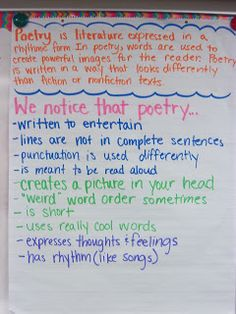 Anchor charts...for different genres, you can discuss with your students and then make a chart with the features you notice.