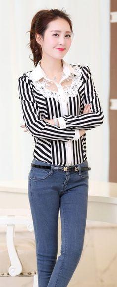 Elegant Stripe Shirt with Lace Neckline YRB0638