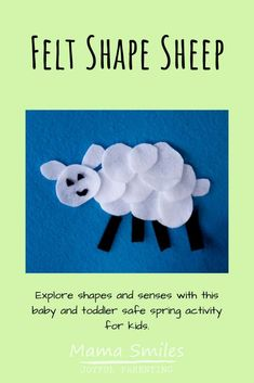 Get creative with shapes in the spring with this simple felt shape sheep. It makes a great spring craft for kids; it's even baby and toddler safe! Activities For 2 Year Olds, Gross Motor Activities, Educational Activities For Kids, Printable Activities For Kids, Spring Activities, Sensory Activities, Infant Activities, Spring Crafts For Kids, Halloween Crafts For Kids
