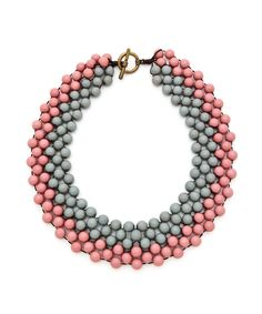 Two-Toned Beaded Collar Necklace - Pink and Grey #shoplately