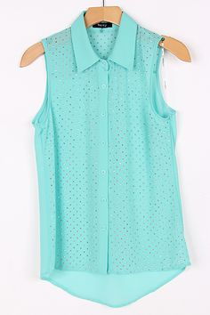 Silver Dotted Josie Shirt in Greek Turquoise.
