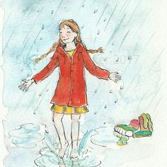 Day 2, inktober.  She really had to divide from her rainboots to go splashing in the water!! #inktober2017 #divided #illustration #susiart #rain #childrenart