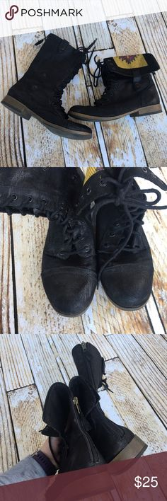 Mossimo black lace up combat boots size 11 Mossimo black lace up combat boots size 11. Can be worn up straight or folded down with tribal print inside accent. Mossimo Supply Co. Shoes Combat & Moto Boots