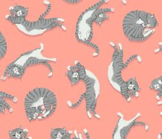 Grey Cats on Peachy Pink fabric by kirsten_sevig on Spoonflower - custom fabric