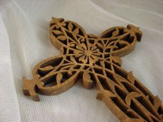 Vintage Hand Made Wooden Openwork Wall Cross 9 Inch Ornate Wood