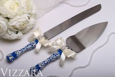 Welcome! Glad to see you in a wedding shop!  Wedding Cake Server and Knife Navy blue-colored  Set of 2 pieces: cake knife and server.  If you want me to ADD THE ENGRAVING your names or the wedding date. Place your order and in comments to the order write your names or the wedding date. AFTER THE PAYMENT I will send you photos of product with engraving for approval and confirmation.  The engraving options on the PHOTO 3. Select and contact me!  ♥ ABOUT: The steel blade is stainless with…