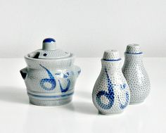 Vintage Asian Condiment Set. Salt and Pepper Set. Sugar Bowl. Ceramic. Blue and Gray. by retrogroovie on Etsy