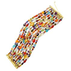 Multi-strand Colored Stone Bracelet