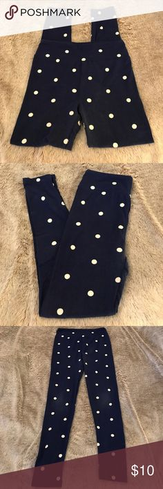 Lularoe polkadot leggings Navy leggings with white polka dots. Washed and dried according to LLR specifications. Some wear visible on the knees and top of the inseam (see pics). Price reflects condition. LuLaRoe Pants Leggings