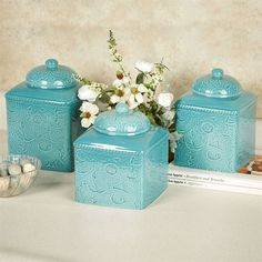 Savannah Canister Set Turquoise Set of Three