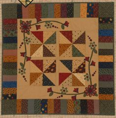 Primitive Folk Art Quilt Pattern - Pinwheels In My Garden Applique Wall Quilt Pattern