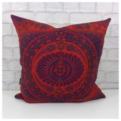 """Cushion Cover Vintage Fabric Pageant By Jyoti Bhomik  18"""" x 18"""" Red"""