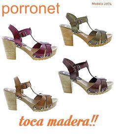 8d680b39 Maderas #Porronet ! Fabulosas #sandalias de tacón de 8cm hechas de piel con  piso
