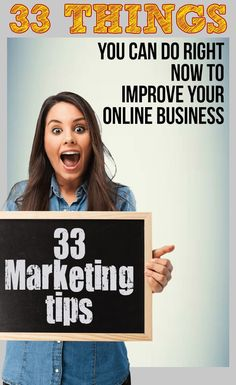 33 things you can do right now to improve your online business. Online marketing tips for entrepreneurs and small business. Video marketing tips will help you learn to advertise. Digital Marketing Strategy, Inbound Marketing, Internet Marketing, Online Marketing, Marketing Tools, Media Marketing, Content Marketing, Affiliate Marketing, Service Marketing