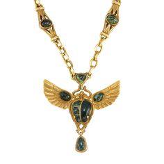 Egyptian Revival Style Gold and Green Hardstone Pendant-Necklace -  14 kt., ap. 40 dwt. Length 15 3/4 inches.