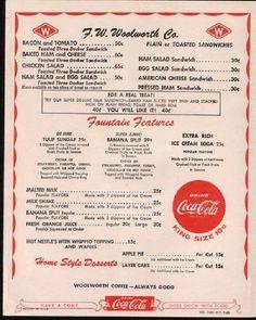 woolworth menu, memori, lunch menu, 1950s, rememb, food, hot fudge, dinner parties, memory lane