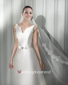 the Best Stunning Draped A-line Satin Chapel Train Wedding Dress with Straps and Sash - Cheap Wedding Dresses Wholesale and Retail Online