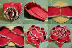 How To Make Zipper Flowers Felt Crafts, Fabric Crafts, Easy Crafts, Sewing Crafts, Diy And Crafts, Sewing Projects, Diy Projects, Easy Diy, Zipper Flowers