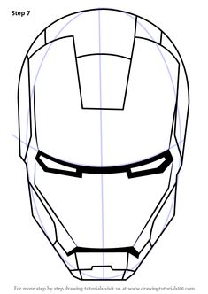 Learn How to Draw Iron Man's Helmet (Iron Man) Step by Step : Drawing Tutorials Avengers Drawings, Drawing Superheroes, Mask Draw, Iron Man Drawing Easy, Superhero Sketches, Iron Man Face, Helmet Drawing, Iron Man Helmet, Iron Man Wallpaper