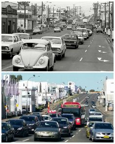Looking south along Auto Alley, Church Street, Parramatta 1972 > 2016. [Jeff Pickering > Allan Hawley. By Allan Hawley]