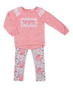 Another great find on #zulily! Cherry Blossom 'Awesome' Top & Floral Leggings - Infant & Kids #zulilyfinds