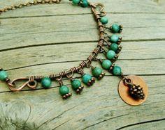 Luminous Drops Wire wrapped antiqued copper by BearRunOriginals