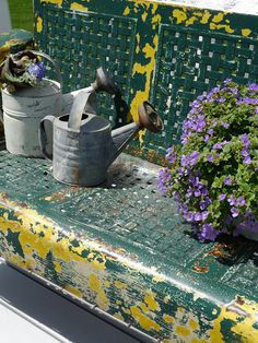 Chateau Chic - watering cans Outdoor Furniture Bench, Vintage Outdoor Furniture, Outdoor Decor, Decoupage, Water Me, Milk Cans, Landscaping Plants, Water Garden, Garden Styles