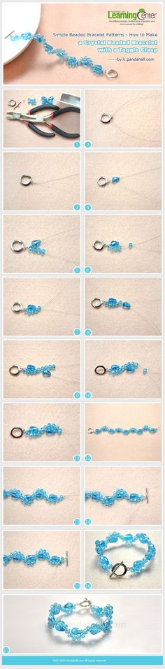 Simple Beaded Bracelet Patterns - How to Make a Crystal Beaded Bracelet with a Toggle Clasp by wanting Bracelet Clasps, Beading Patterns, Beaded Bracelet Patterns, Beaded Jewellery, Beaded Earrings, Beaded Bracelets, Jewelry Crafts, Jewelry Box, Jewelery