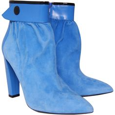 Pre-owned Balenciaga Suede Ankle Boots ($245) ❤ liked on Polyvore featuring shoes, boots, ankle booties, blue, blue boots, zip ankle boots, short boots, high heel bootie and high heel boots