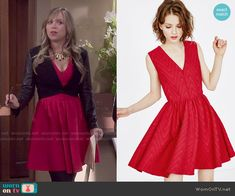 Kristin's red v-neck dress on Last Man Standing.  Outfit Details: http://wornontv.net/52900/ #LastManStanding