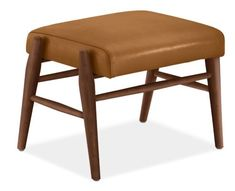 Modern Jonas Ottoman in Portofino Leather in Leather/Wood in Cognac