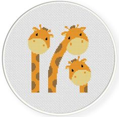 Three Giraffes PDF Cross Stitch Pattern Needlecraft - Instant Download - Modern Chart