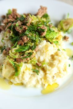 Cheesy Cauliflower Mash with Sausage and Brussels Sprouts