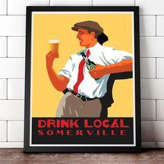 Scally Cap Drink Local Somerville 11 x 14 print