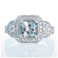 White Gold Aquamarine Vintage Style Halo Three Stone Engagement Anniversary Band Wedding Ring. $2,200.00, via Etsy.