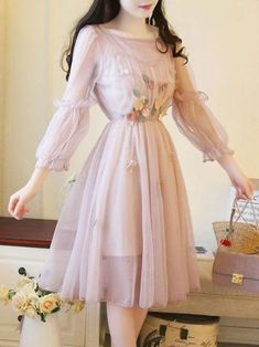 Sweet Solid Color See-Throu. dress, Sweet Solid Color See-Through Ruffle Embroidery Double Day Dresses Style Outfits, Dress Outfits, Fashion Dresses, Modest Fashion, Day Dresses, Casual Dresses, Dresses For Work, Elegant Dresses, Summer Dresses