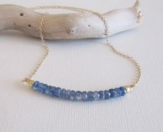 Blue Kyanite Necklace Kyanite and Gold Delicate Necklace
