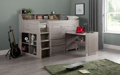 Kermit Single Mid Sleeper Bed With Chest of Drawers, Bookcase and Desk Harriet Bee Colour (Bed Frame): Grey Oak Mid Sleeper Cabin Bed, Triple Sleeper Bunk Bed, Cabin Bunk Beds, High Sleeper Bed, Cabin Beds For Teenagers, Boys Cabin Bed, Cabin Bed With Desk, Cabin Bed With Storage, Single Beds With Storage