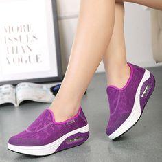 Breathable Rocker Sole Platform Casual Shoes