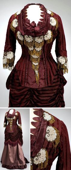 Dress, Paris, ca. 1875. Silk satin, velvet, pearl, tulle. Bodice rectangular in front, V-shaped in back, with ruffles and weights. Elbow-length sleeves, front bodice, & neckline embroidered with beads on tulle base—white shell motifs with black contour & yellow fringe. Four-part skirt: petticoat of dark red calico w/satin stripes, satin skirt, velvet drapery covering hips (ruffled at sides), and bustle of striped velvet, ruffled in zig-zag lines. Museum of Applied Art, Budapest