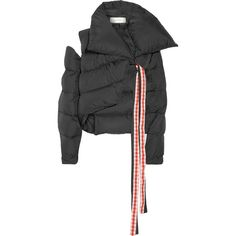 Marques' AlmeidaCutout Asymmetric Quilted Shell Jacket (€1.065) ❤ liked on Polyvore featuring outerwear, jackets, black, long jacket, padded jacket, shell jacket, long padded jacket and asymmetrical jackets