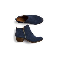 "Great suede ankle boots. Love the navy color. I have never worn ""booties"" but would love to try them."