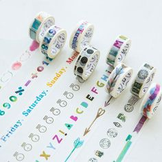 8 different Washi Tapes Collection - Days of the week, Vintage Stamp, Rainbow Bubble Speech