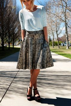 Fun gold Agnes and Dora Midi Skirt!  Love this look! #agnesanddora #midiskirt